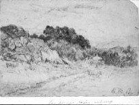 Image of Landscape, Rocky outcrop - framed pencil drawing
