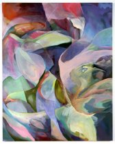 Image of Side View - Colorful organic floral shapes dominate the painting, representing the artist's femininity.