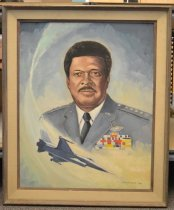 "Image of Chappie James - A head and shoulders portrait of Daniel ""Chappie"" James, Jr. fighter pilot in U. S. Air Force and the first African American to attain the rank of four-star  general.  A fighter jet appears below his image."