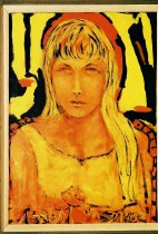 Image of Portrait of a Young Woman with Blonde Hair - Abstracted portrait of female head, full face.  Painted in interesting palette of yello, orange and black. Posed at quarter length and full face.