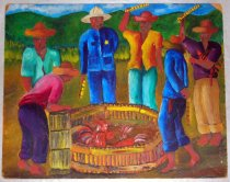 Image of Cock Fight - Brightly colored painting of cock fight as six (6) men stand around and watch.