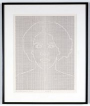 Image of Faces Set #9: Drawing 2, The Negative - Triptych portrait of African American woman's face; middle piece.
