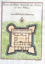 "Image of Plan du Fort Anglois de Juida, ou Fort Williams - Small engraving of Fort Williams which was one of the many infamous slave forts that were built along Africa west coast in the 17th and 18th centuries. Extracted from Prevost's ""L`Histoire Generale des Voyages"" (vol. IV, no. 11)."