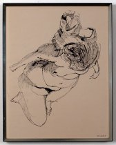Image of Untitled (female nude) - Sketch of female nude figure reclining with head on some sort of padding.