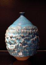 Image of Untitled (vase) - Teardrop shaped vase with blue glaze and irregularly indented middle.