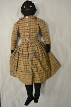 Image of Handmade doll with plaid wool dress, cotton undergarments and plastic eyes.