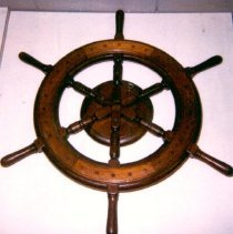Image of Wood steering wheel off a Landing Craft, Personnel Ramp (LCPR)