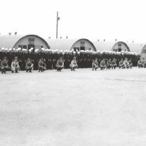 Image of 2003.0116.15 - B&W photo of UDT 30 at team muster, Oceanside, California, August, 1945