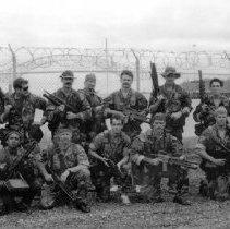 Image of 2000.0011.1 - B&W team photo of SEAL Team Four Foxtrot Platoon 10/89 -  4/90