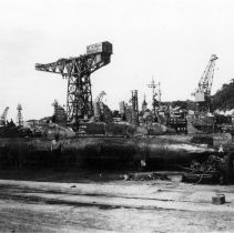 Image of 2001.0134.55 - B&W photo of Submarine base at Yokosuka Naval Base in Japan