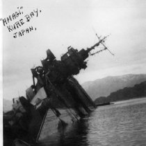 Image of 2002.0023.61 - B&W photo of Japanese carrier Amagi. Sunk in Kure Bay, Japan