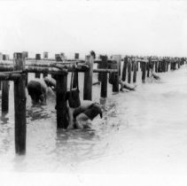 Image of 2002.0130.97 - B&W photo, UDT 18 removes wood beach obstacles off Borneo.