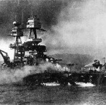 Image of U.S.S. Nevada hit with many bombs.