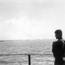 Image of December 1944 Admiral Running Supervising landings at Lingayen Gulf