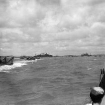 Image of 2006.0027.6 - B&W photo of landing craft of the Seventh Amphibious Force mill about in the  transport area before heading for the beach with troops of the 24th Army Corps to begin occupation of Korea. They landed at  Jinsen.