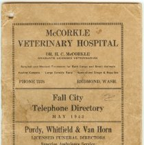 Image of 2007-005.012 - Fall City Phone Directory 1943