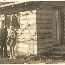 Image of 2008-003.007 - Beezie Opstad and Sharon Cowles on Fall City School Grounds c1940