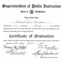 Image of Certificate of Graduation, Michael Jean Morgan