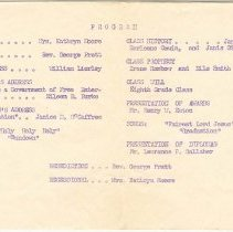 Image of Eighth Grade Graduation Program 1961, inside
