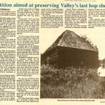 Image of 2008-009.017 - 1991 Valley Record article about preserving the hop shed