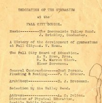 Image of Program for Dedication of Gymnasium