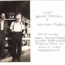 Image of 2008-014.004 - Harold Johnson (left) and Herman Mindrup when Harold bought Red & White Grocery Store in Snoqualmie