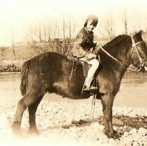 Image of 2008-026.025 - Donna Bennett with pony Ted and Dog Tim, Snoqualmie Riverbank c1930?