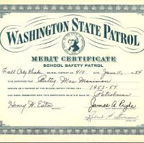 Image of 2009-003.004 - Washington State Patrol Merit Certificate for School Safety Patrol, Fall City