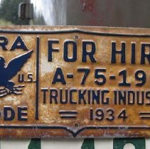 Image of 2009-008.008 - NRA metal plate for truck, 1934, Henry Isackson