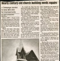 """Image of 2009-010.010d - """"Nearly Century-Old Church Building Needs Repairs.""""  Fall City"""