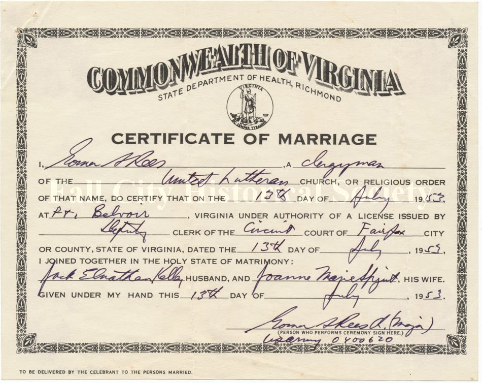 2009 012k059 Commonwealth Of Virginia Certificate Of Marriage