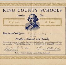 """Image of 2009-023.005 - """"Diploma of Honor"""" certifying that Marjorie Myers has been Neither Absent nor Tardy"""" during the yearly term of school ending 24th of May 1935."""