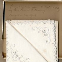 Image of 2011-006.AK181 - Linen napkins given to Artie Kelley by Dr and Mrs W W Cheney, Fall City