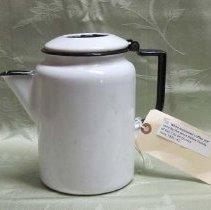 Image of 2011-006.AK201a-b - White enameled coffee pot, large pitcher c1930, Artie Kelley Fall City