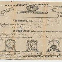 Image of 2011-006.JSK233b - IOOF Identification/Membership card 1910, Jesse Kelley, Fall City