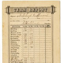 Image of 2011-006.OTH104c - Report card,1890s? Delphus Huffman, Fall City