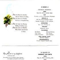 Image of 2011-007.011a-b - Funeral programs, Georgia Morton, Margaret Ann Smith