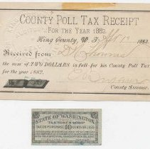 Image of 2011-008.031 - 1882 King Co. Poll Tax Receipt, 1935 WA State Tax Scrip