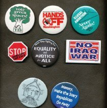 Image of 2012-002.001 - Local and National political buttons over the years