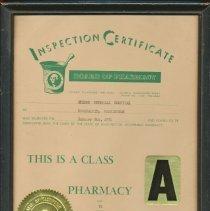 Image of 2013-001.005ED - Nelems Hospital Inspection Certificate 1974
