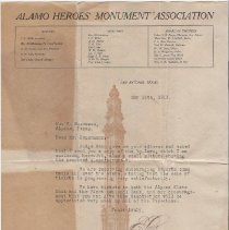 Image of Alamo Heroes Monument Association from Emil Locke to C. Heuermann 5/14/1913