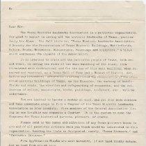 Image of Blank Historic Landmarks Association Member Letter - 1912