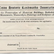 Image of Blank Historic Landmakrs Association Member Form - 1912