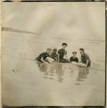 "Image of P2017.004.009 - Five women in the water at the ""Town Beach"""