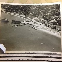 Image of P2017.025.008 - Aerial photo of East Ferry showing Bay View Hotel and a ferry boat