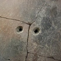 Image of Set of drilled holes to tie crack.