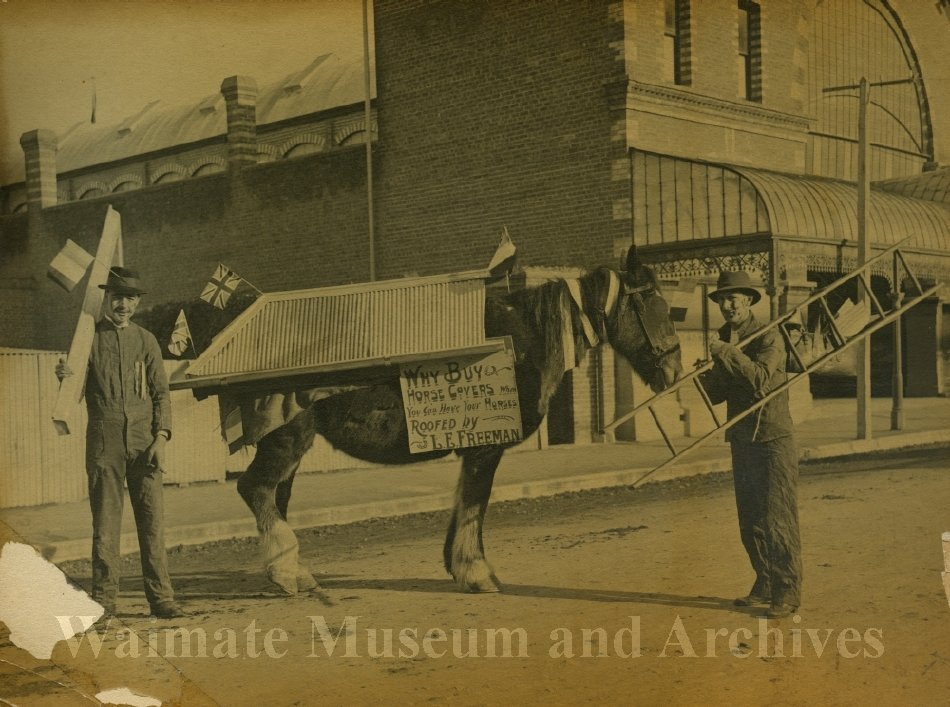 Peace Celebrations WWI outside Quinn's Arcade - Waimate Museum and Archives