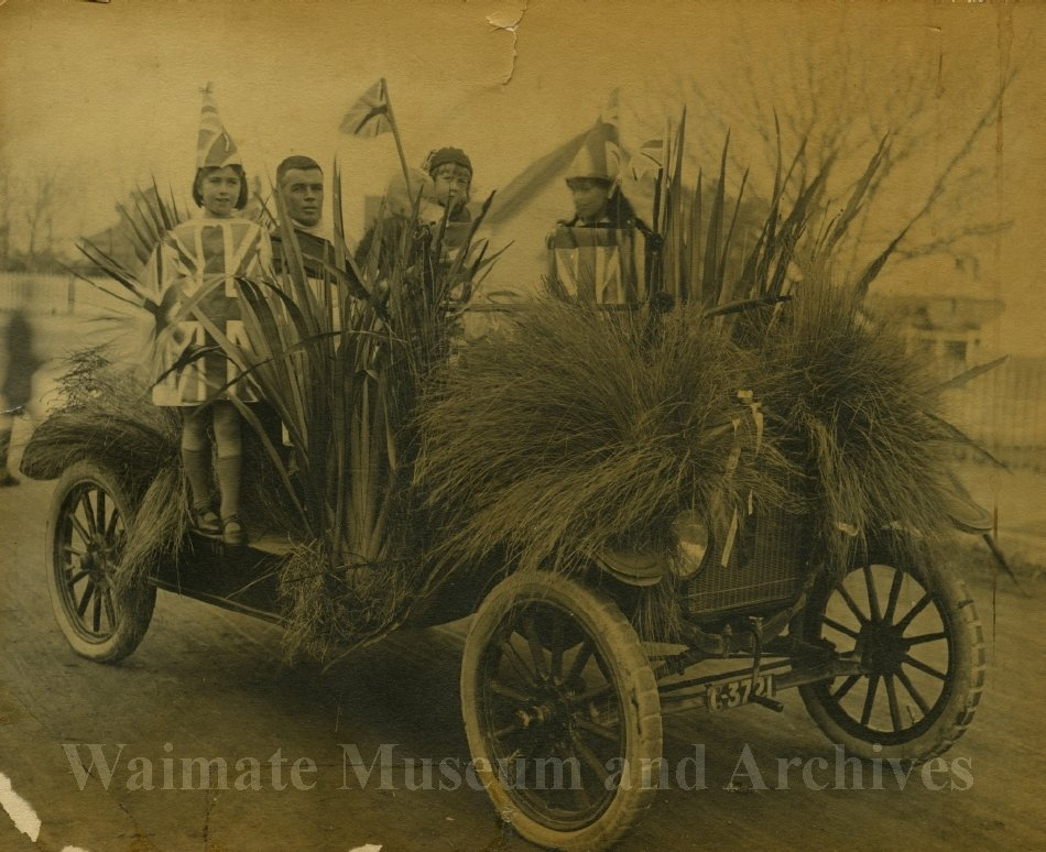 Float car in WWI Peace Celebrations - Appleby entry in procession - Waimate Museum and Archives