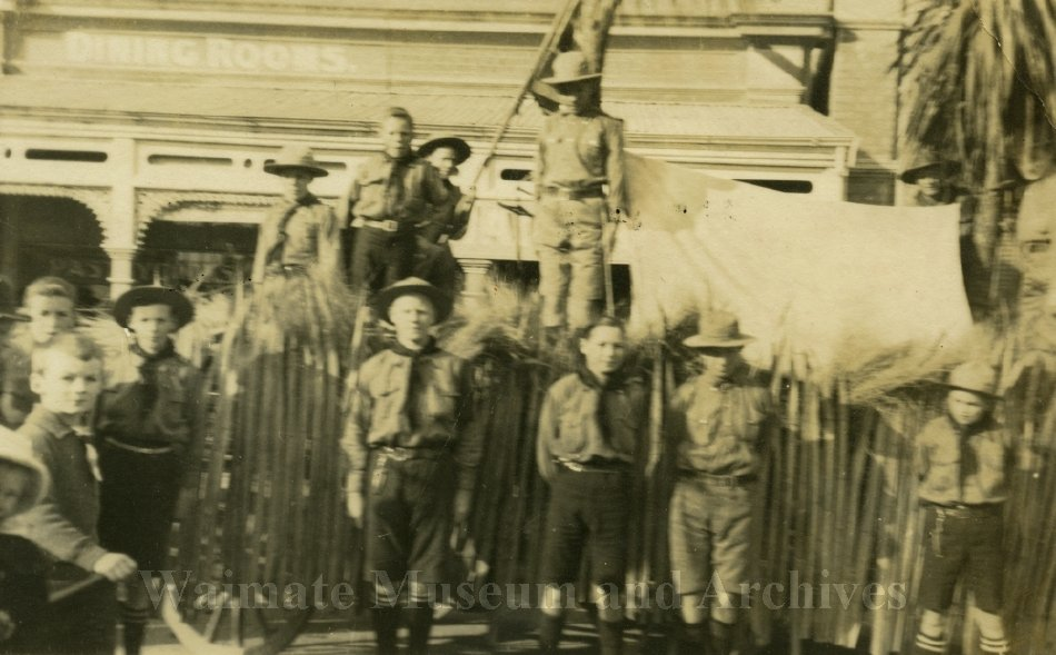 Scout troop with float at Waimate WWI Peace celebrations - Waimate Museum and Archives