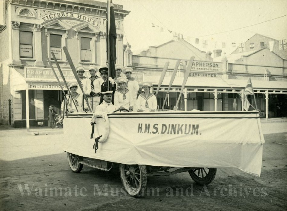 HMS Dinkum float/boat in WWI Peace Celebration Parade. - Waimate Museum and Archives